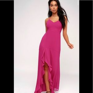Luxurious Love Magenta Lace-Up Maxi Dress Medium